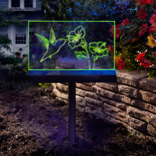 Solar Hummingbird Garden Sign Light
