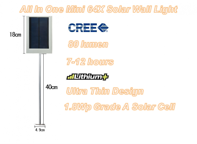 All In One Mini 64X Solar Wall Light