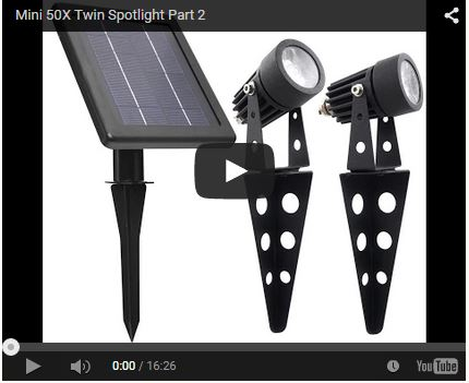 Mini 50X Solar Twin Spotlights YouTube Video 2