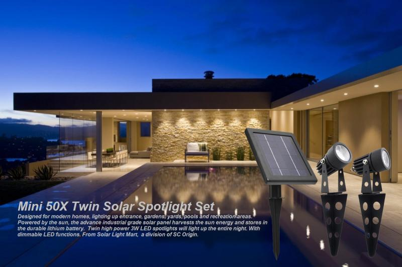 Mini 50X Solar Twin Spotlights